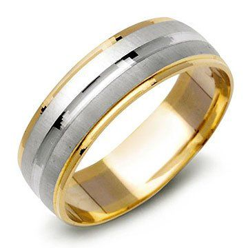 14K TwoTone Gold Mens Contemporary Wedding Band Ring REVIEW Mens