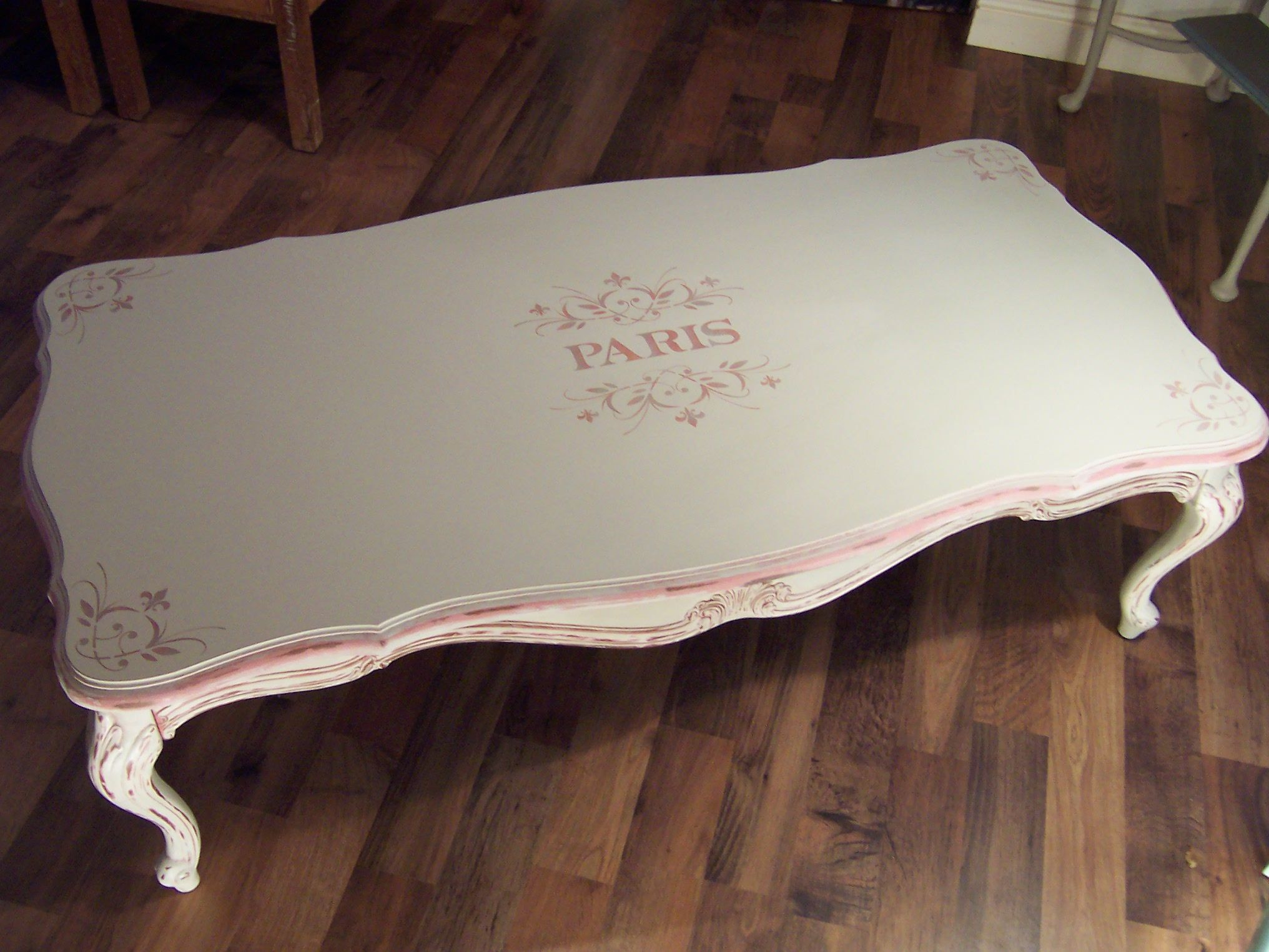 French style coffee table painted with Annie Sloan Country Grey