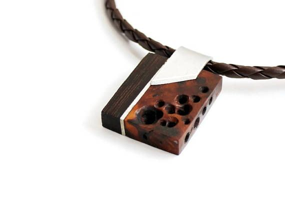 necklace abstract by yogajewelry wood sanskrit nikibarsnatureart wooden carved carving om art pin