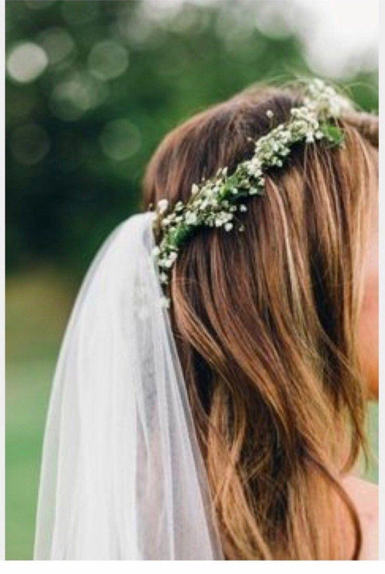 Thin Babies Breath Crown With Veil Etsy Boho Wedding Hair Bridal Hair Veil Flower Crown Hairstyle