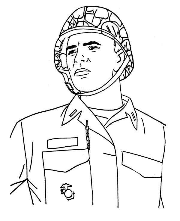 A Soldier In Combat Helmet Veterans Day Coloring Page Veterans