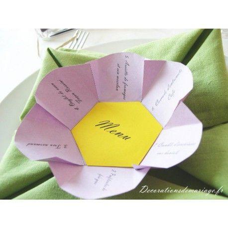 d coration de mariage sur le th me nature menu fleur id es pr sentation menu mariage. Black Bedroom Furniture Sets. Home Design Ideas