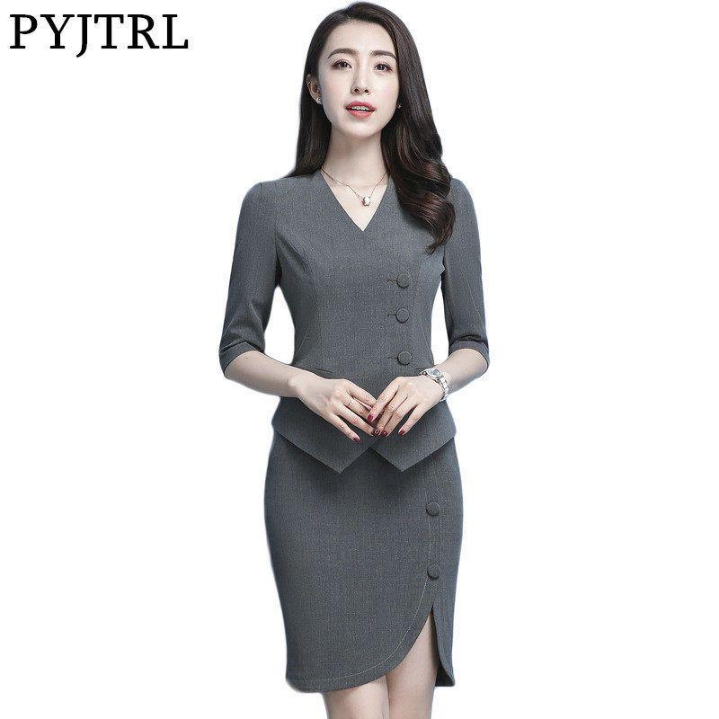PYJTRL mujeres verano delgado gris negro azul chaqueta falda ocupación  recepción 2 piezas conjunto oficina uniforme diseños mujer negocios 69e01afc94e5