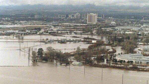 On January 1, 1997, the Truckee River completely submerged the Sparks Industrial Center, causing extensive damage. The flood was caused by warm weather and rain melting huge quantities of snow in the Sierra Nevada mountains.