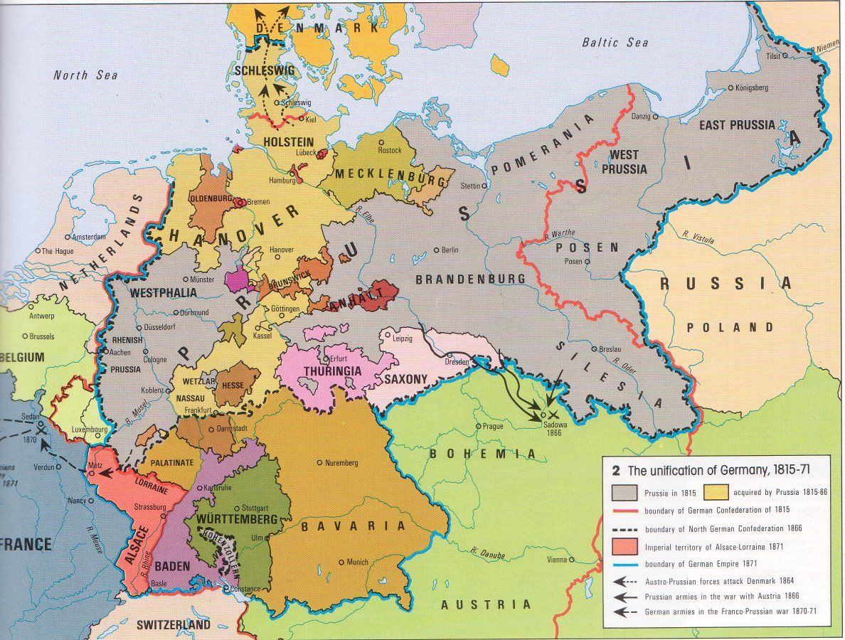 Map Of Europe Russia Middle East%0A Map  Unification of Germany