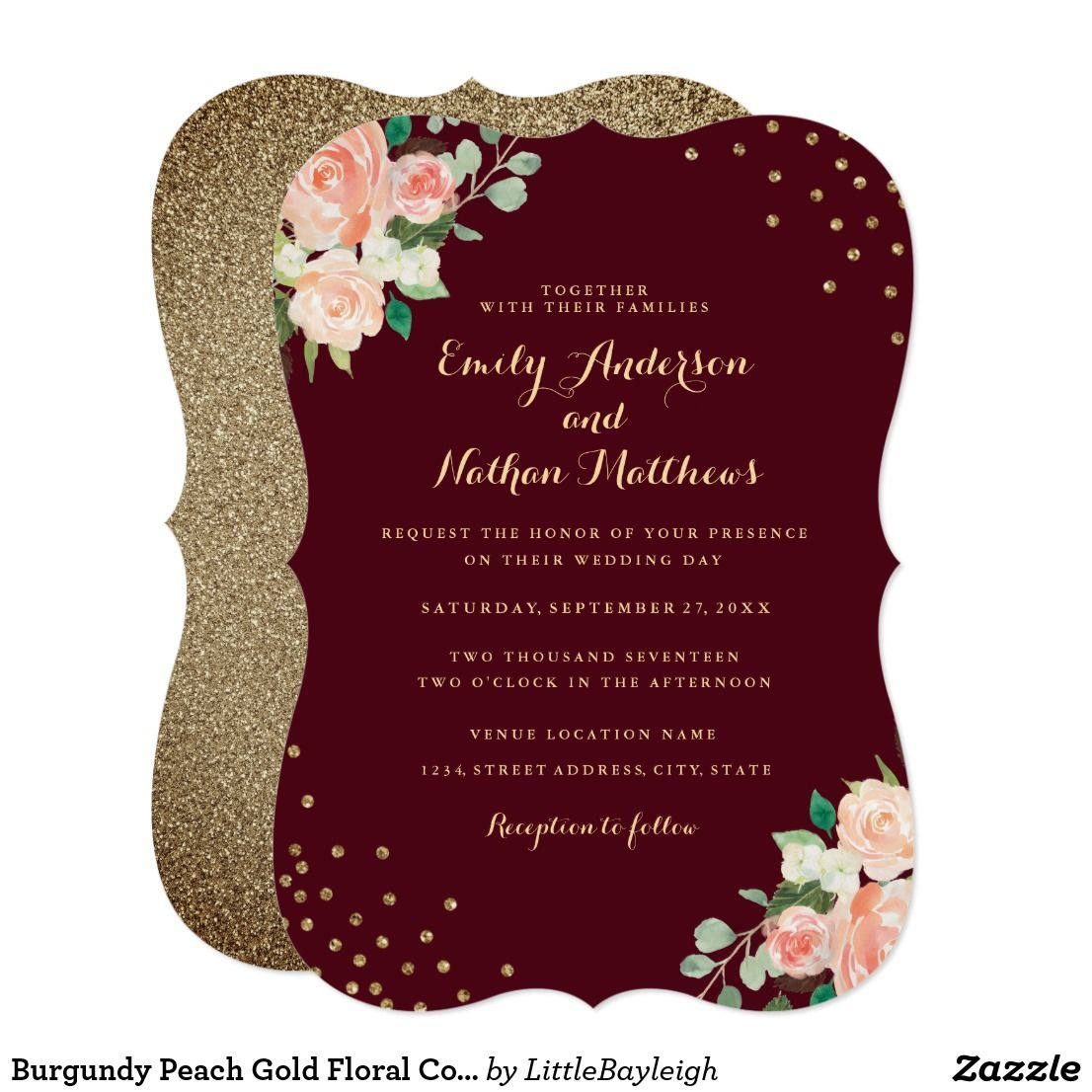 Burgundy Peach Gold Floral Confetti Wedding Invitation | { Wedding ...