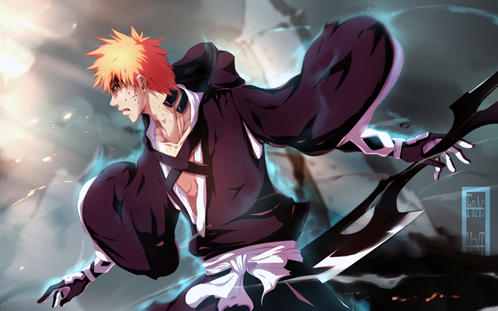 Download Wallpapers Bleach Kurosaki Ichigo 4k Japanese Manga