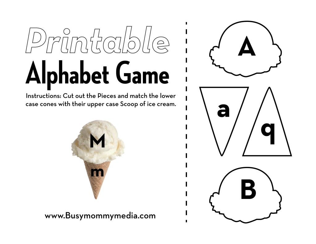 Preschool Printable IceCream Alphabet Matching Game