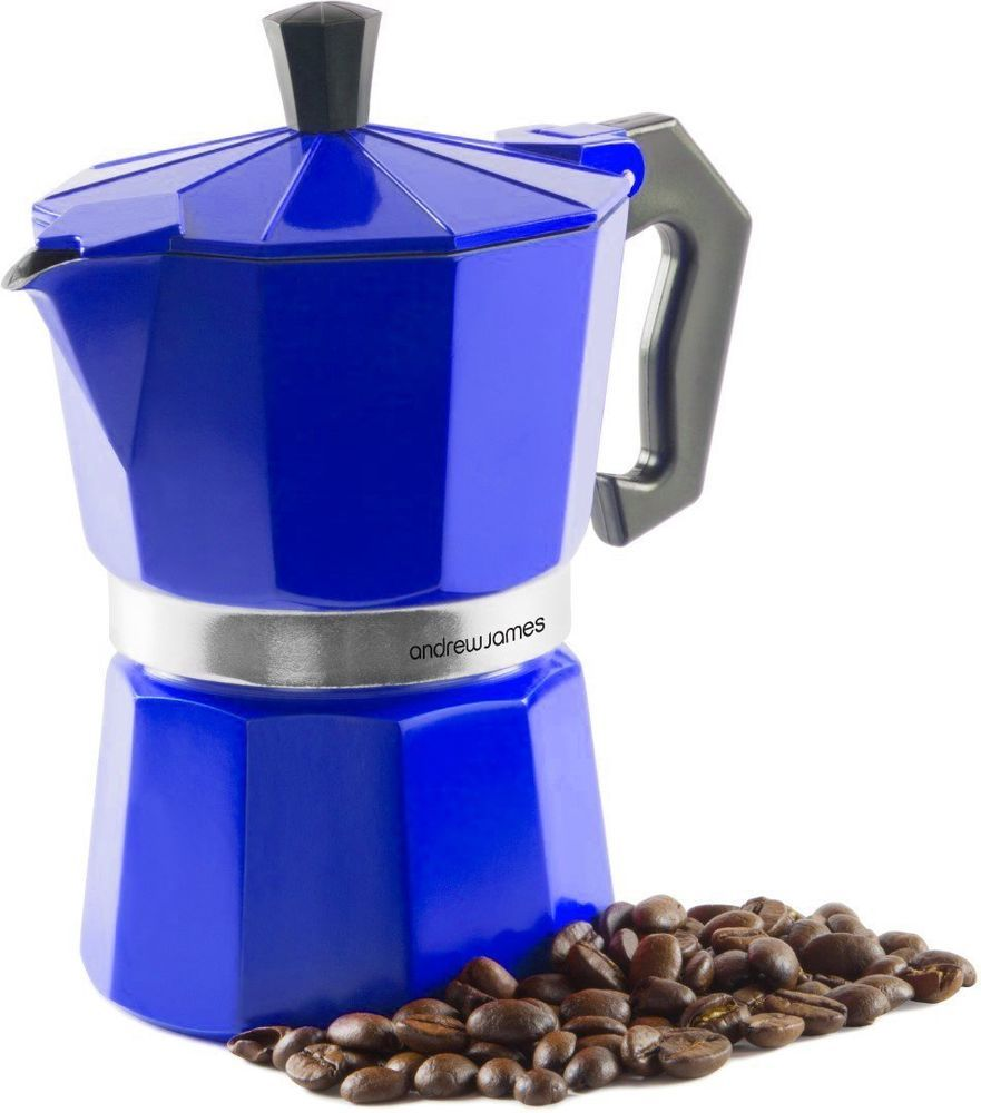 Andrew James Stove Top Blue Espresso Coffee Percolator,  Moka Pot Jug Maker  | eBay