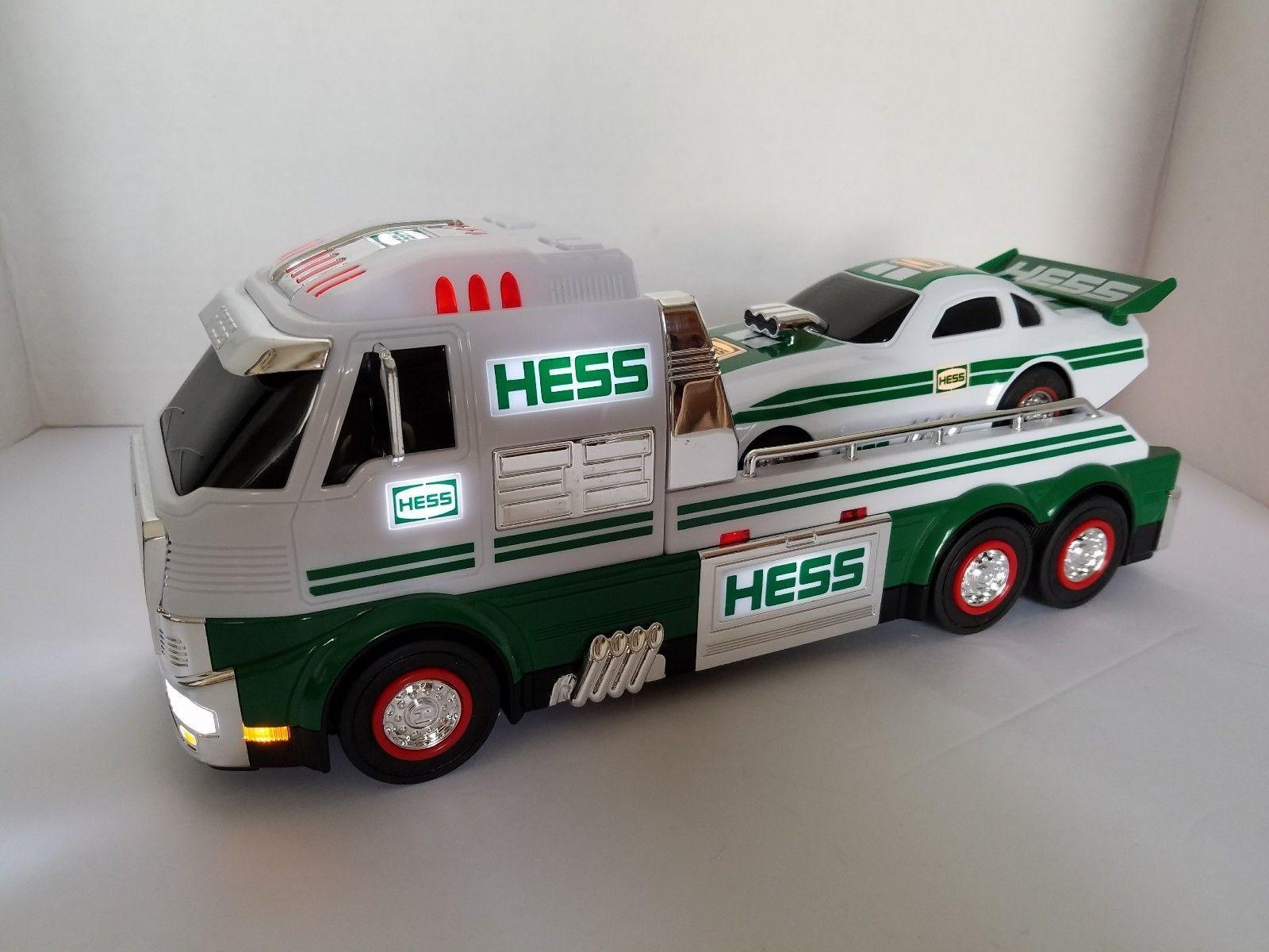 2016 Hess Semi Truck Race Car Dragster Hauler With Car Lights