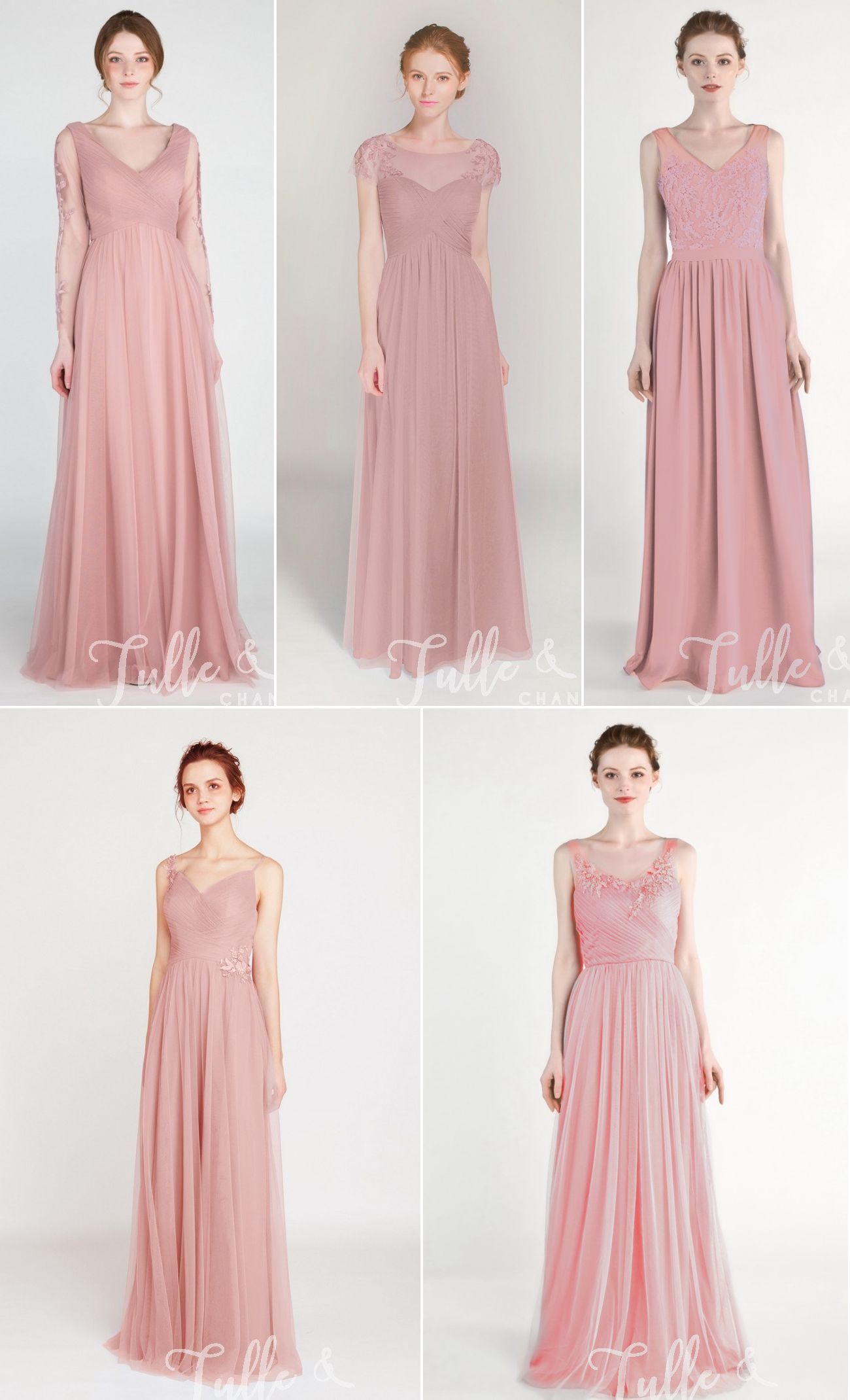39f6e38c057 Tulle   Chantilly dusty rose illusion lace tulle bridesmaid dresses -  TBQP413