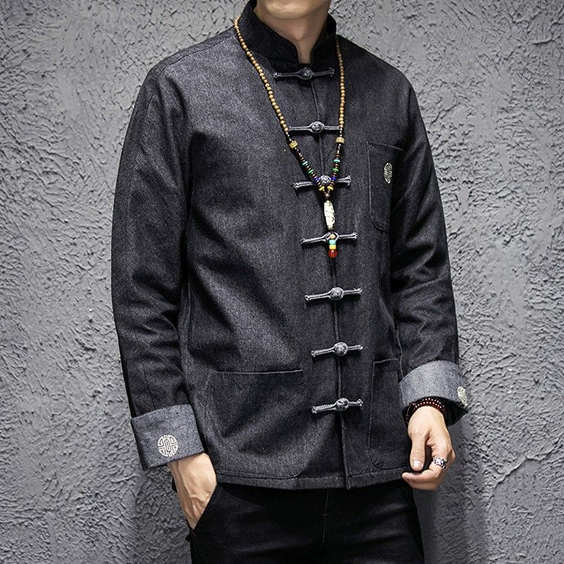 285c5dbfe Dignified Denim Frog Button Tang Jacket - Black - Chinese Jackets & Coats -  Men