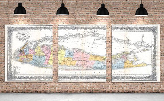 3 Panel Long Island Sound New York Antique Vintage Map Color Print on Canvas Giclee Home Decor Nautical Theme Art Deco by ClavinInc on #Etsy