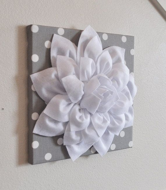 NEW YEARS SALE Flower Wall Decor -White Dahlia on Gray and White ...