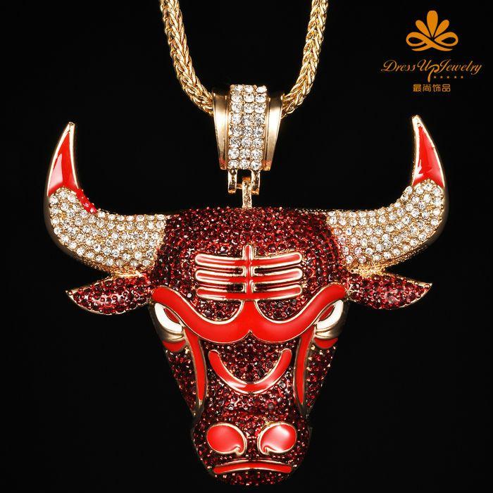Chicago Bulls Pendant Necklace Hip Hop Jewelry   hip hop ...