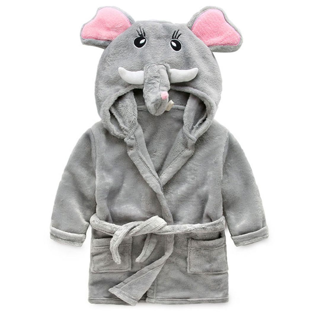 c608ae666e Gray Mr. Elephant Hooded Bathrobe