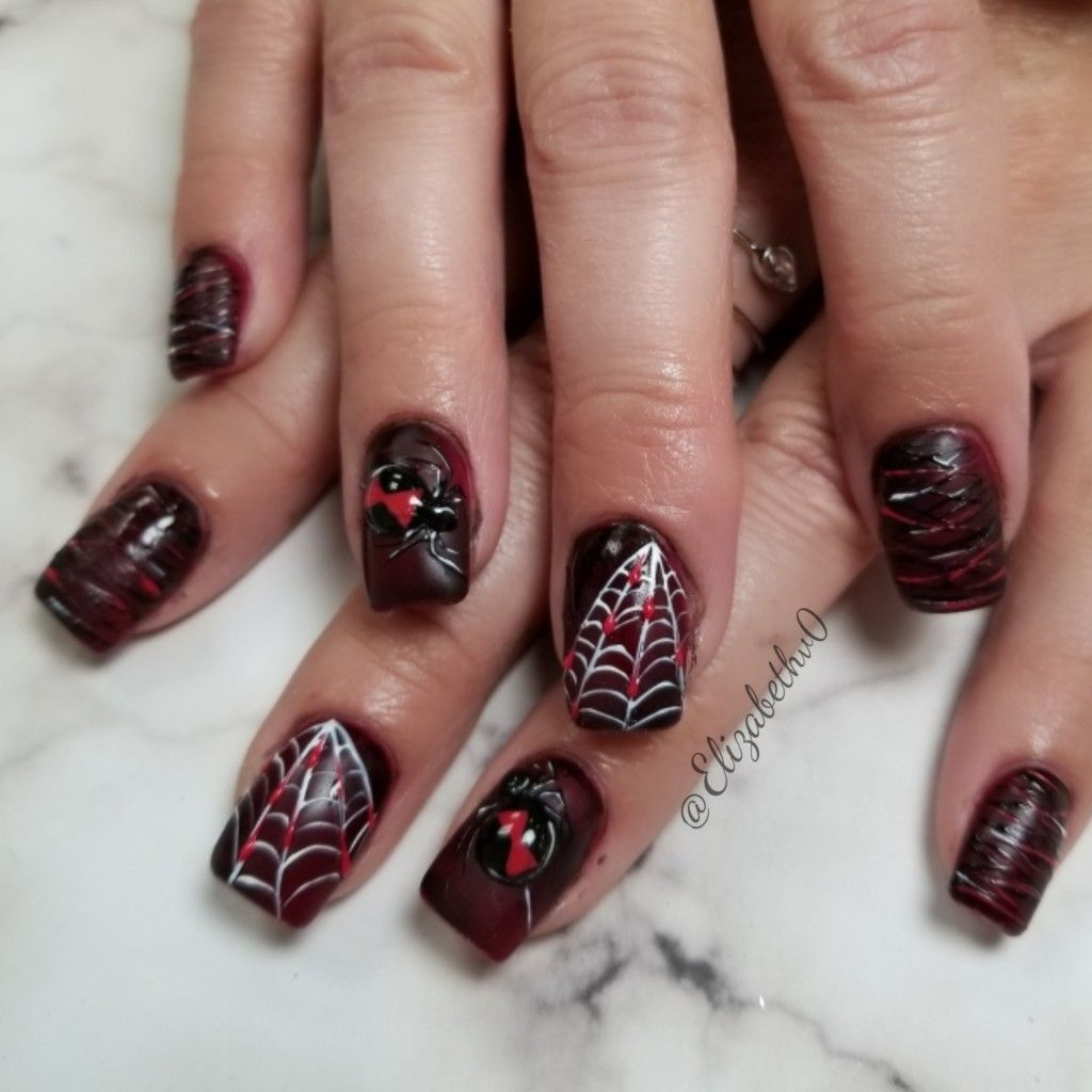 Spider nails, Halloween nail design, spiderweb nails, red ...