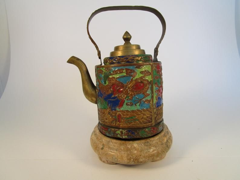 Extra Large Green Oriental Tea Pot Dragons and Foo Dogs Home and Garden Kitchen and Dining Serve Ware Tableware Coffee and Tea