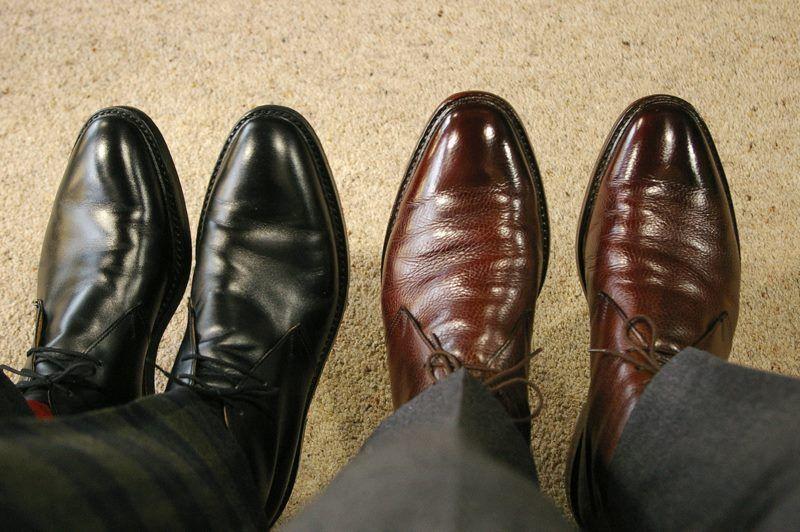 crockett & jones brecon in black calf and dark brown country calf