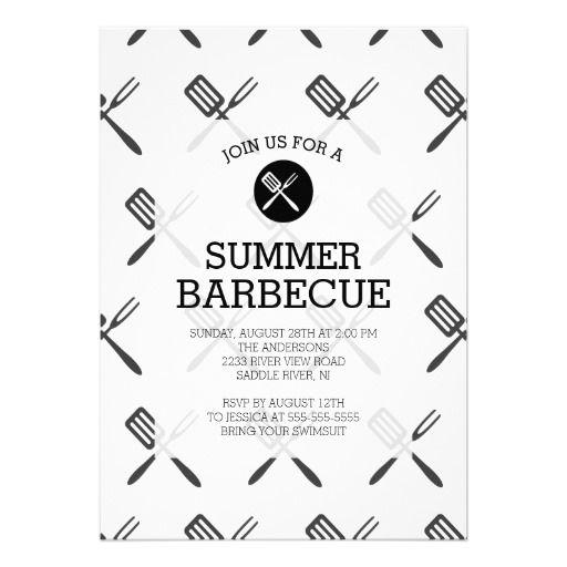 Modern Fun Black White Summer Barbecue Party Invitation