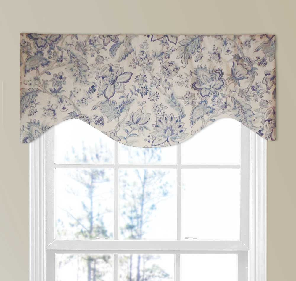 Natural Linen Floral Valance In Blue And Light Stone Valance