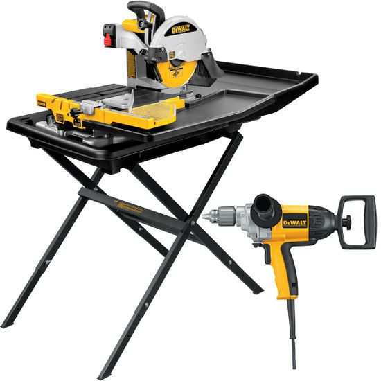 Dewalt D24000 Wet Tile Saw Stand With Dw130v Mixing Drill