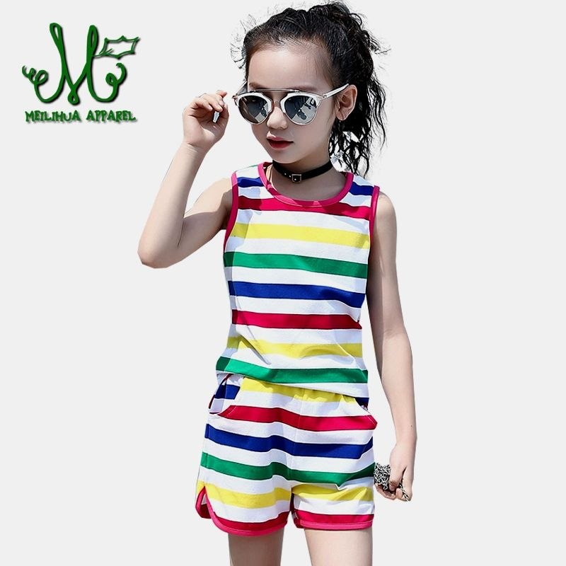 cecd9de12 Girls Clothing Set Summer Kids Stripe Vest + shorts Suits Teenage ...