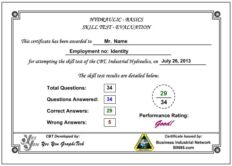 Industrial Hydraulics Training Course Certificate - click   - technical evaluation