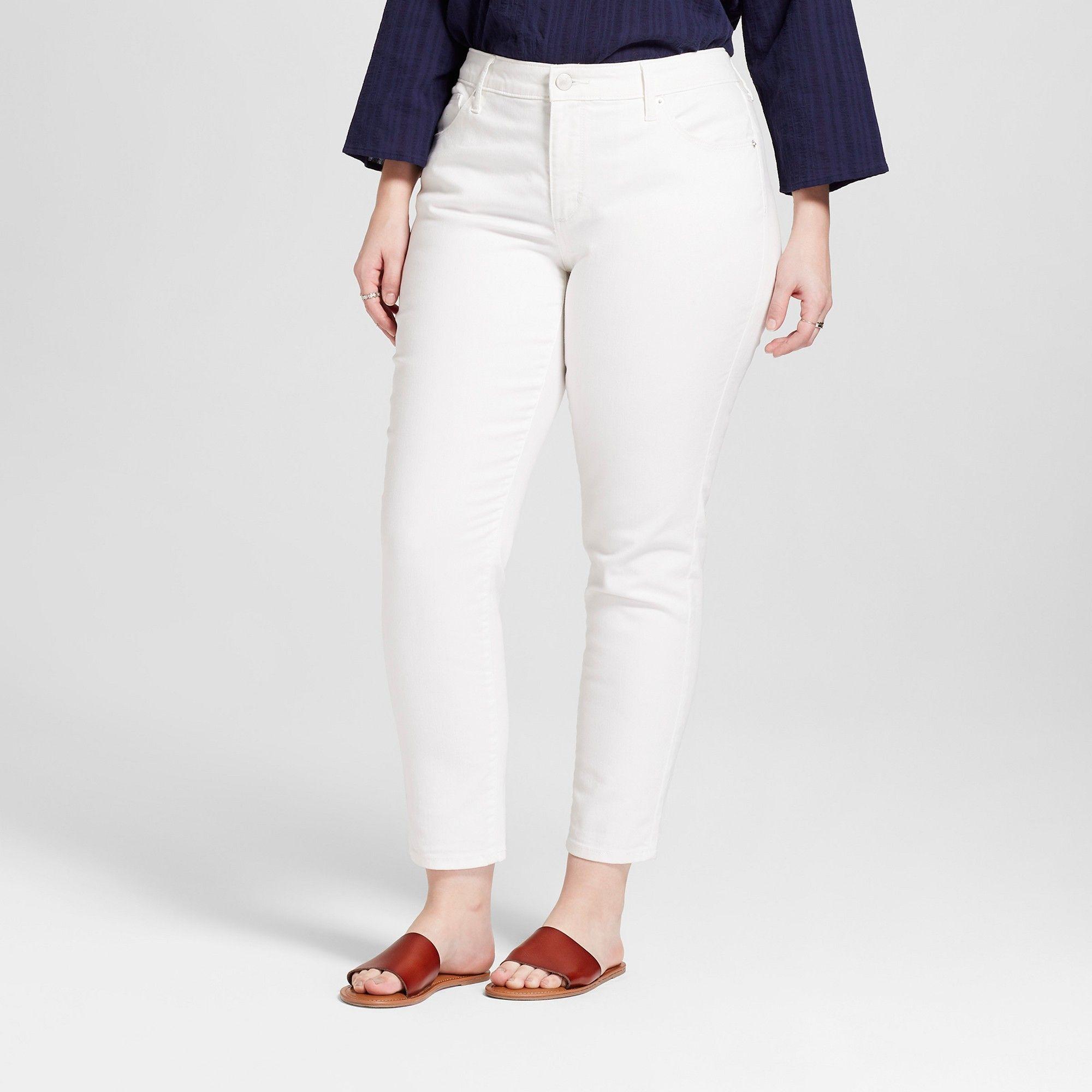 49341cb89172 Women s Plus Size Mid-Rise Skinny Jeans - Universal Thread White 16W ...