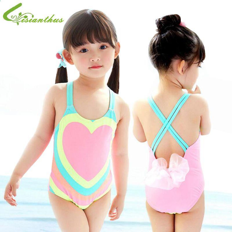 1d5a07e41b2a2 Trajes de baño para niños Niñas Bikini con estampado de corazones de una  pieza 2018 Traje