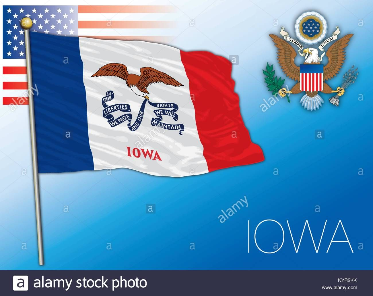 Iowa Federal State Flag United States Stock Vector Art