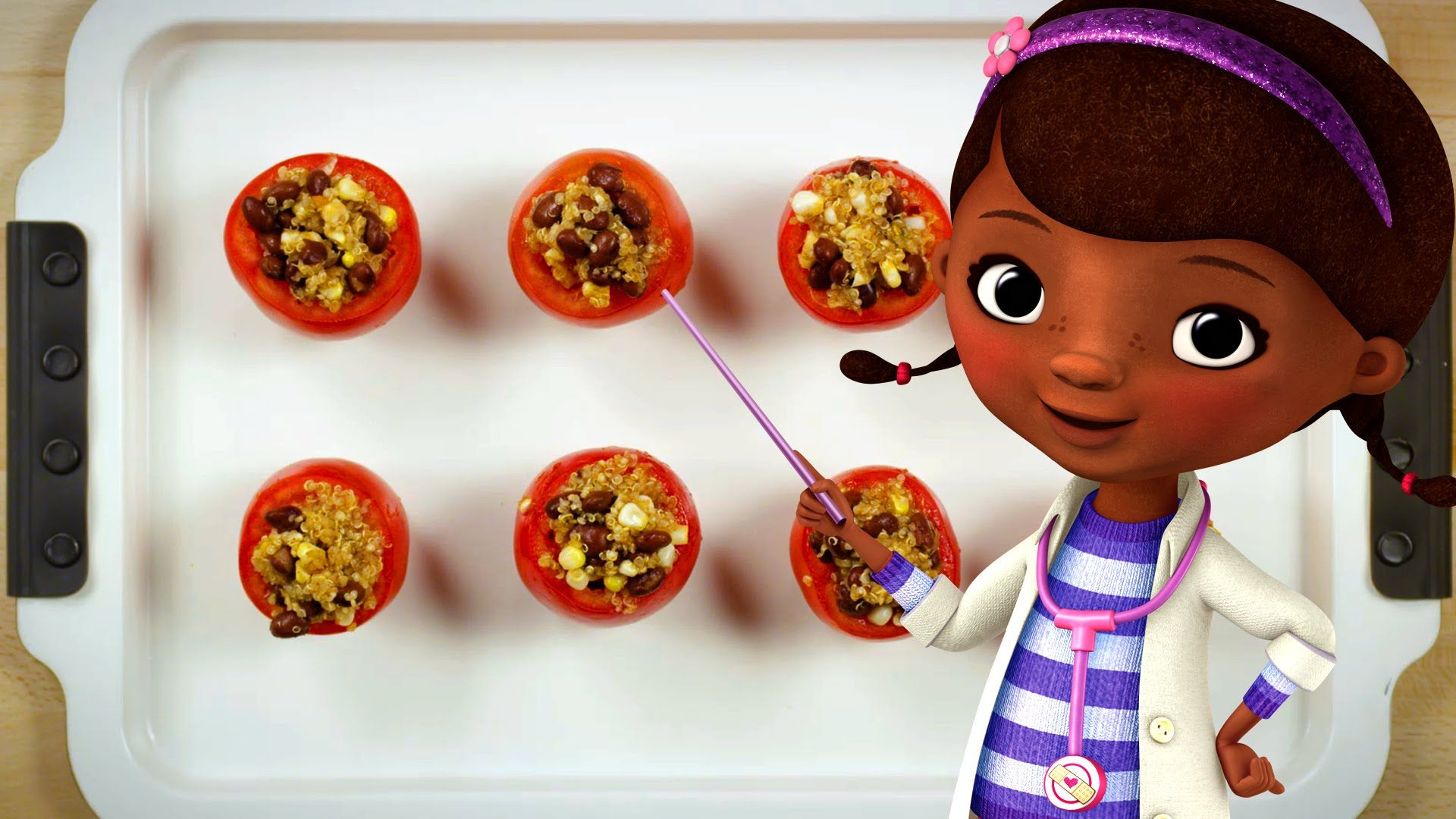 Doc Mcstuffins Quinoa Stuffed Tomatoes Dishes By Disney Youtube Tomato Dishes Disney Food Quinoa