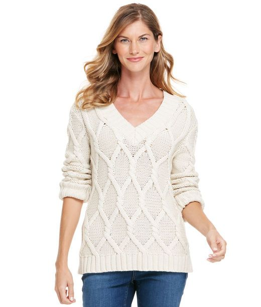 Cotton Cable V-Neck Sweater | My Style | Pinterest | Cable, Cotton ...