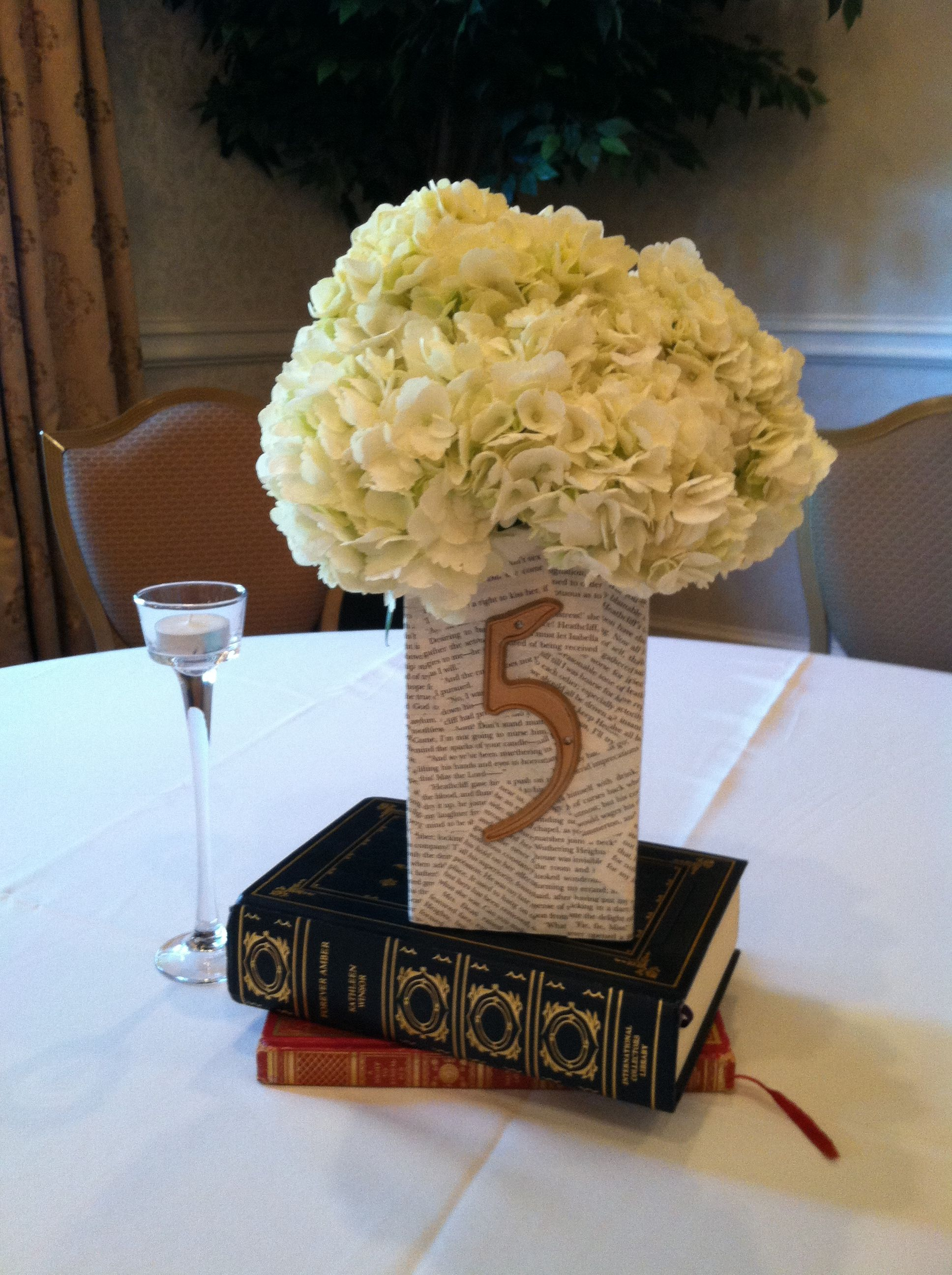 We love creative brides! Book themed wedding centerpieces / table numbers with white hydrangea