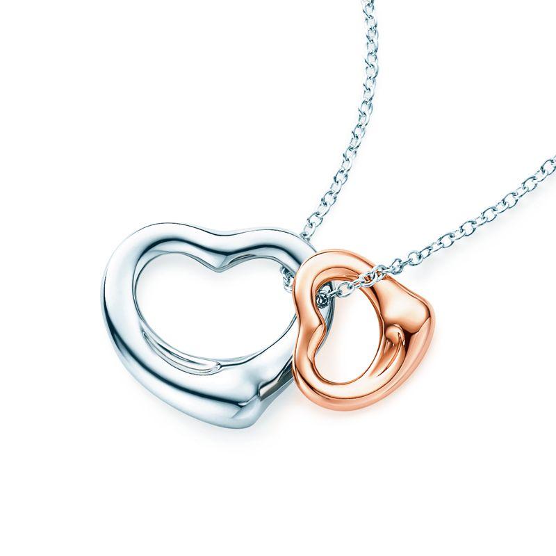 121e55e18 Tiffany Tip No. 13: Go straight for the heart. Elsa Peretti® Open Heart  pendant in sterling silver and 18k rose gold.
