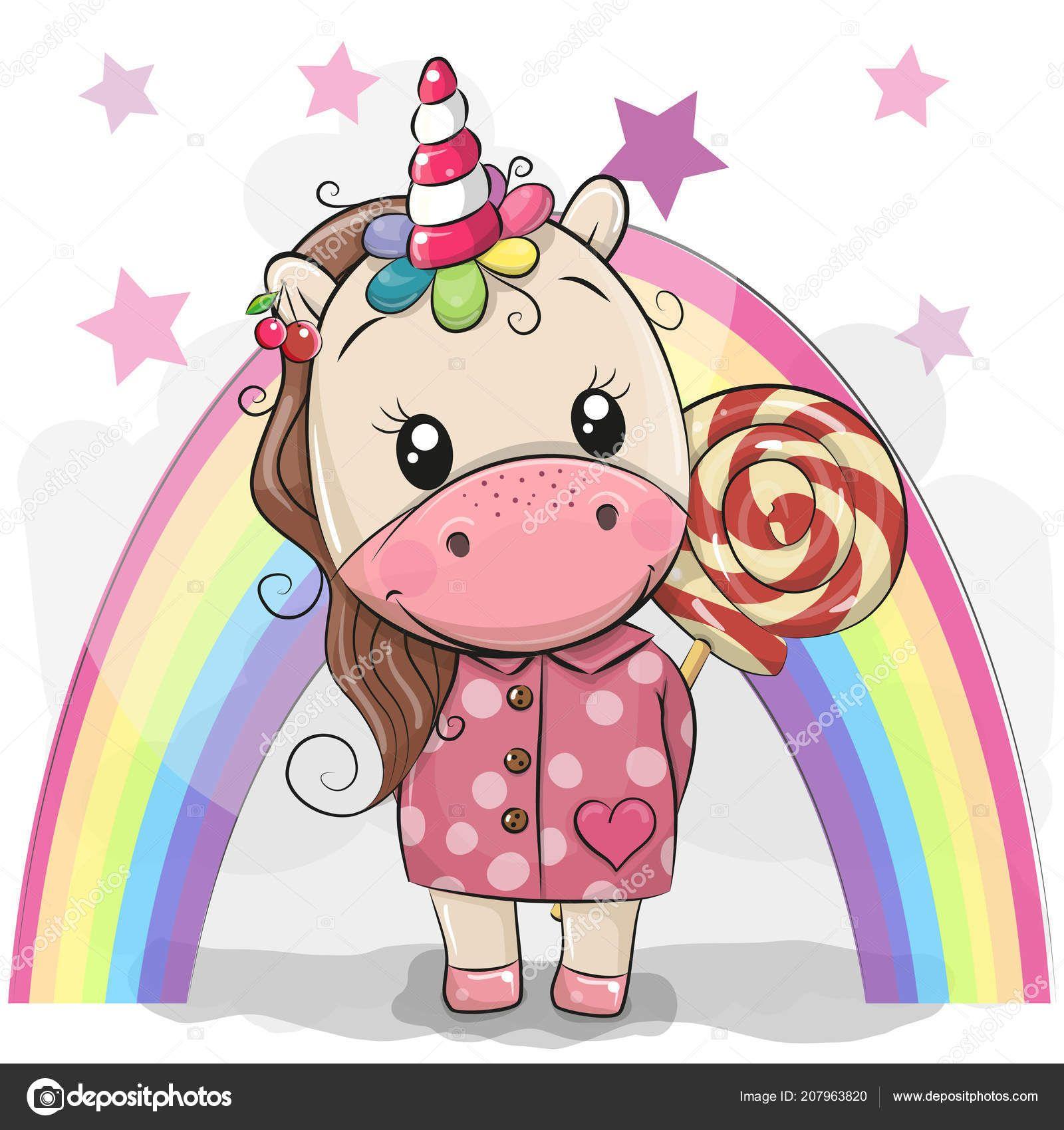 Cute Cartoon Unicorn Coat Lollipop Rainbow Background Stock