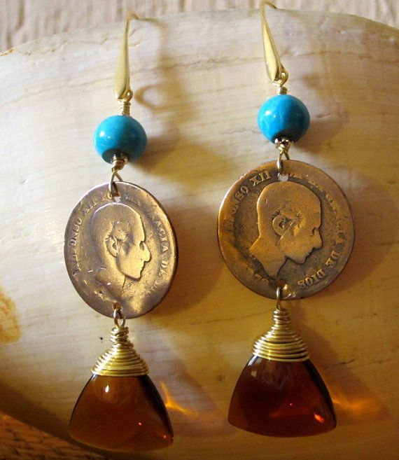 Vintage Spanish brass coin and turquoise by Thingsfromtheheart, $45.00
