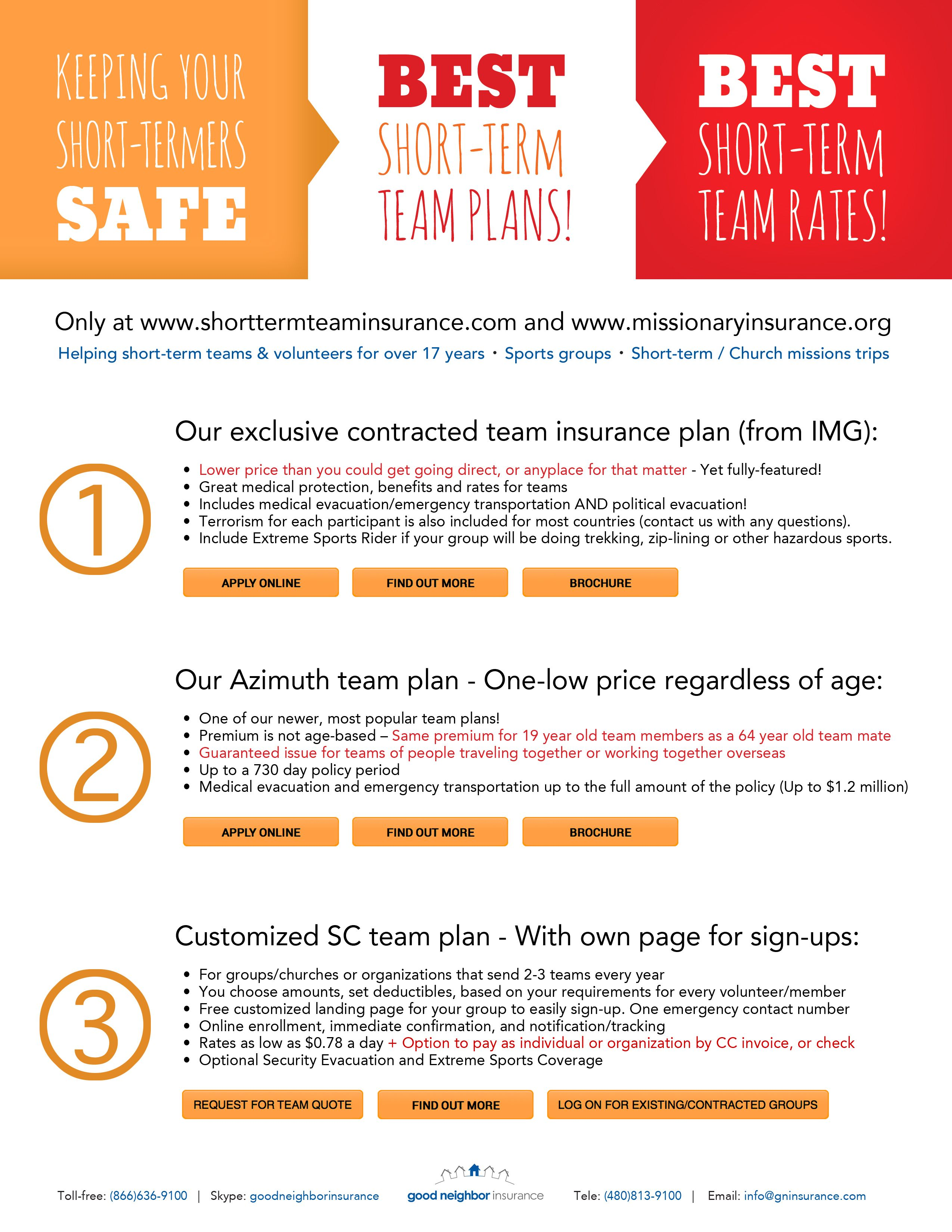 Our Best 3 Short Term Team Insurance Plans For Small Groups