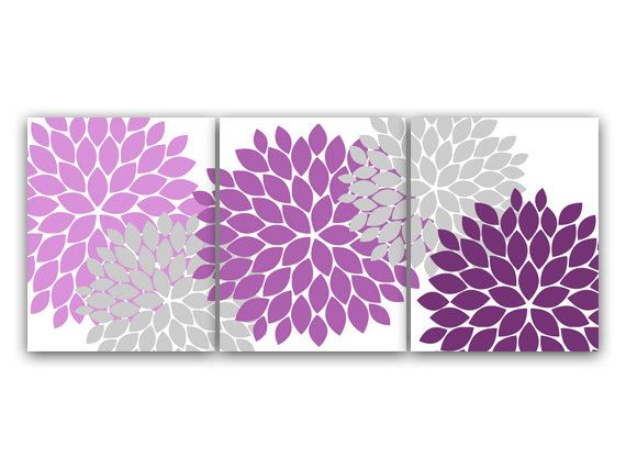 Purple Grey Bathroom Decor : Digital bathroom wall art set of modern bath in