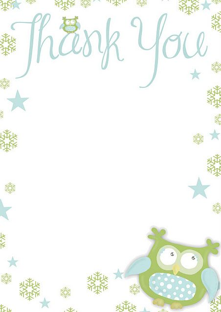 Free printable Thank You -paper with a cutie Owl Stationary
