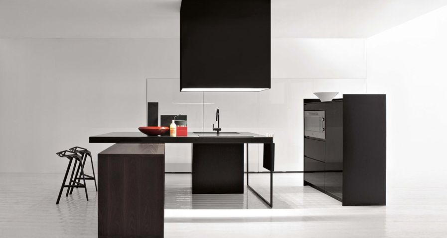 Architecture, Excellent All Black Simple Kitchen At Modern And Minimalist Kitchens  Design Ideas: Trio