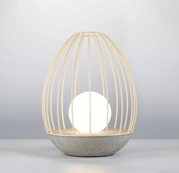 Serie Lampe De Table Modele Oeuf Beton Et Toujours En Cage Concrete Table Lamp Lamp Lights