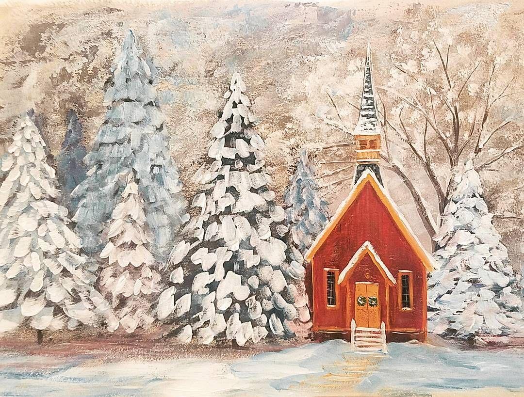 Snowy Chapel Acrylic Painting Tutorial #angelafineart on # ...