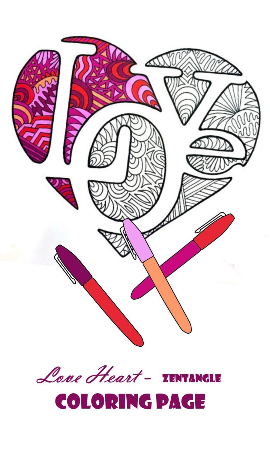 Love Heart - Zentangle Coloring Page... #ad | Coloring ...