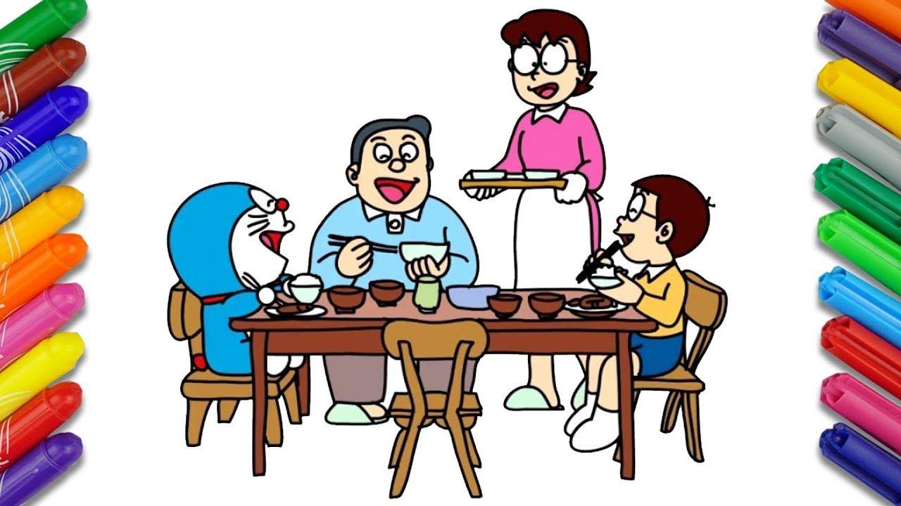 draw and color doraemon cartoon when nobi family dined doraemon