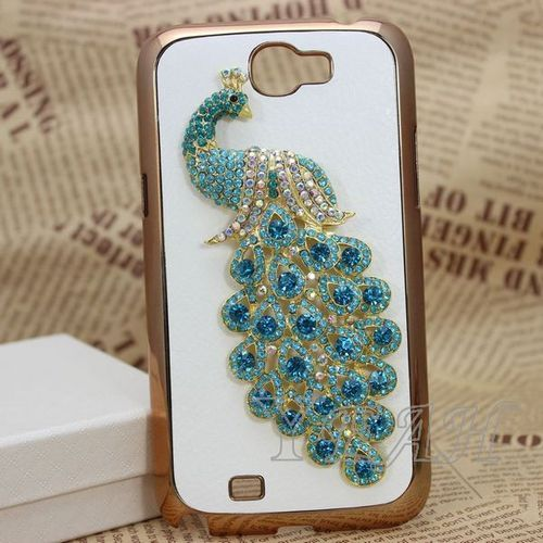 Blue Peacock Leather Diamond Hard Case Cover for Samsung Galaxy Note 2 II N7100 | eBay $8.90