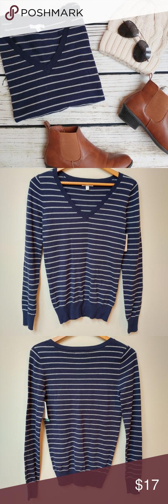 NWT Striped V-Neck Sweater Navy vile and gray striped v-neck ...