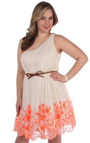 plus size one shoulder bow belt neon party dress Plus size   Big Fashion Show plus size party dresses