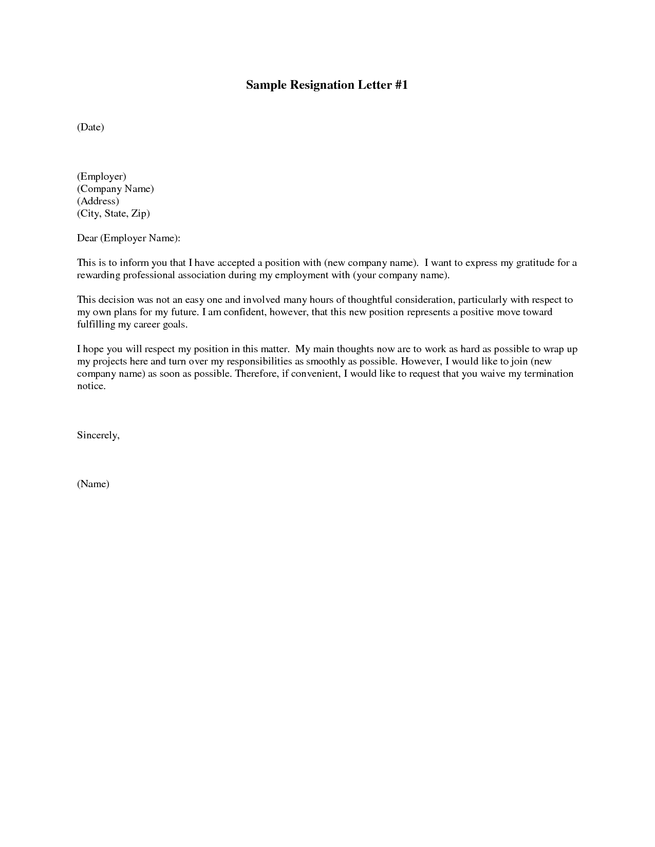 Printable Sample Letter Of Resignation Form  Basic Template For