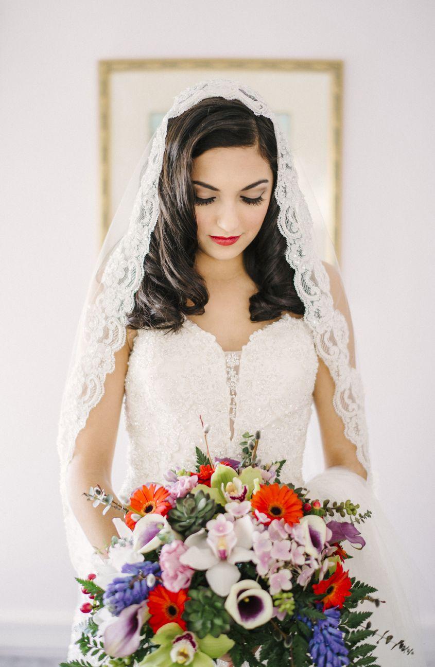 Bridal makeup, nude eyes with orange red lip